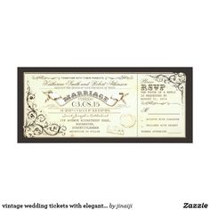 vintage wedding tickets with elegant flourishes card vintage wedding invitations - tickets with RSVP in one. Elegant swirly flourishes, old paper background and aged banner drawing in the center - perfect invitation for your vintage wedding theme. The RSVP part is approximately 2.9'x4' inches size.
