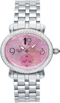 Sartego women's stainless steel quartz diamond pink mother of pearl for $290