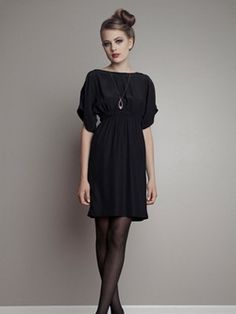 black dress+black tights -- I've also always wanted a plain black dress. :]