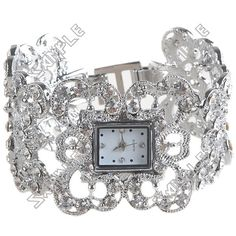 Antique Metal Chunky Hand Chain Style Wrist Analog Quartz Watch Timepiece with Rhinestones for Lady Woman - Silver Low Price Watches, Hand Chain, Antique Metal, Quartz Watch, Rhinestones, Bracelet Watch, Bling, Woman, Antiques
