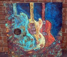 "Trio of Guitars Texture Abstract Acrylic Art on Wood Canvas 36"" x 36"" x 2"" Art by Jill McCulley on Etsy, $349.00"