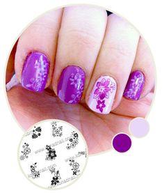 Obsessive Compulsive | Purple Hawaiian Flowers Nail Art