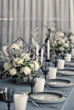 The Most Popular Wedding Color Trends For 2019 ★ wedding color trends grey black white and greenery modern reception table nadia.pro wedding colors The Most Popular Wedding Color Trends For 2020 Black And White Wedding Theme, Modern Wedding Theme, Wedding Themes, Black Wedding Decor, Black White Weddings, Industrial Wedding Decor, Modern Minimalist Wedding, Modern Wedding Inspiration, Themed Weddings