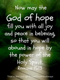 Now may the God of hope fill you with all joy and peace in believing so that you will abound in hope by the power of the HOly Spirit.  Romans 15:13