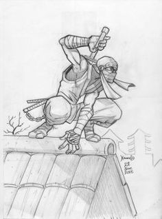 Ninja sketch by hamex, an awesome professional artist. Drawing Reference Poses, Drawing Poses, Drawing Sketches, Art Drawings, Samurai Drawing, Samurai Art, Comic Kunst, Comic Art, Ninja Kunst