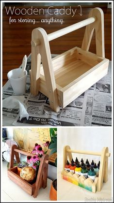 Make this simple wooden caddy! Scrap Wood Projects, Woodworking Projects Diy, Woodworking Furniture, Diy Furniture, Woodworking Tools, Craft Projects, Wooden Tool Boxes, Wooden Basket, Wooden Gifts