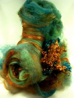 Copper Peacock Wild Card Bling Batt for Spinning and by yarnwench, $36.00