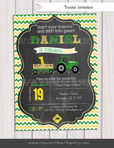 Tractor Birthday Invitation Chalkboard Invitation Farm Birthday John Deere Invitation with green tractor    This listing is for a digital file for