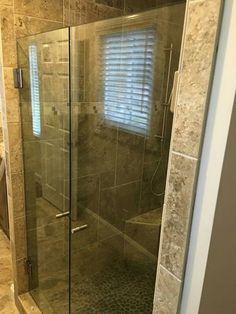 Double door frameless shower. #framelessshowers #brittandtilson #glass #asheville #wnc #bathroom #remodel #custom #shower lots of access.