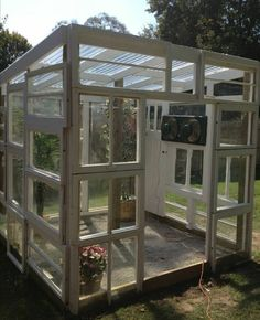 Greenhouse shed, greenhouse gardening, old window greenhouse, small gre Build A Greenhouse, Greenhouse Gardening, Greenhouse Ideas, Old Window Greenhouse, Greenhouse Heaters, Outdoor Greenhouse, Large Greenhouse, Greenhouse Wedding, Outdoor Projects