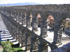 Aqueduct from outside the old city Photo - Segovia, Spain