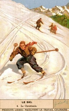 Vintage Skiing Trading Card © Vintage Winter This poster was originally a collectible trading card by Liebig. Liebig was founded in 1865 and started printing l Ski Vintage, Vintage Ski Posters, Vintage Winter, Theme Sport, Foto Poster, Vintage Hawaii, Winter Photos, Winter Sports, State Art