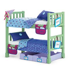 American Girl of Today Muebles American Girl, Cosas American Girl, American Girl Beds, American Girl Doll Sets, Doll Bunk Beds, Bunk Bed Sets, Twin Xl Sheets, Wooden Bunk Beds, Baby Doll Nursery