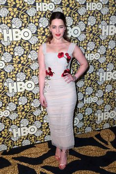 Emilia Clarke in Dolce&Gabbana Spring 2016 at HBO's Golden Globes after-party on January 10, 2016 #DGwomen