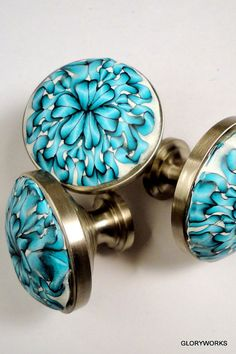 Items similar to Cabinet Knobs Metal and Polymer Clay Order up to 30 Turquoise u0026 white on Etsy & 90 best Nautical cabinet hardware images on Pinterest in 2018 ...