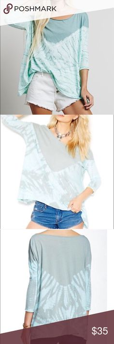Free People Coastal Tie Dye Tee Free People We The Free Coastal Tie Dye boho Tee, sold out! Slight off shoulder neckline and vibrant tie-dye print lend festival-ready flair to a supersoft jersey top cut. So super soft and extremely flattering. I have this top and absolutely adore it. Gorgeous green/blue color. There is a very faint area on the neckline of a lighter color, possible discoloration. I have not washed this top, it does have or original tags. Looking to trade for other colors too…