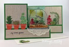 Oh my goodness, when I saw the Live, Love, Grow stamp set with all the cute succulent images and terrarium in the new Stampin' Up! annual c. Z Cards, Step Cards, Stampin Up Cards, Fancy Fold Cards, Folded Cards, Pop Up, Succulent Images, Interactive Cards, Greeting Cards Handmade