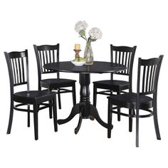 Table and 4 Kitchen Chairs 5-piece Dining Set COMES IN WHITE