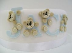 christening cake for a boy with teddies  baby cake naming day cake via Tumblr
