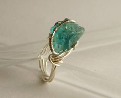 Wire Wrapped Ring Apatite Ring Silver Ring Blue by JenyJewellery, $28.00