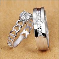 2 Pcs Free Shipping 2014 Engagement/Wedding 925 Silver Ring Heart Women Simulated Diamond Jewelry Cross Mens Rings Ulove J391