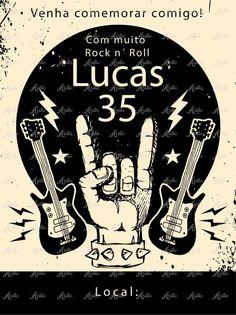 Festa Rock Roll, Rock N Roll, Heavy Metal, 60th Birthday Party, Birthday Invitations, Event Themes, Party Themes, Rock And Roll Birthday, Party Rock