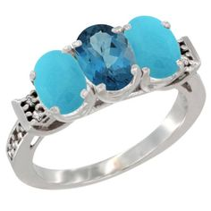 14K White Gold Natural London Blue Topaz and Turquoise Sides Ring 3-Stone Oval 7x5 mm Diamond Accent, sizes 5 - 10 *** Check out this great image  : Jewelry Ring Bands