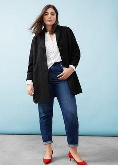 Textured cotton-blend coat | VIOLETA BY MANGO