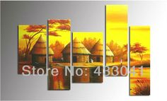 African Abstract Paintings On Canvas | Modern Abstract Yellow African Tribal Ethnic Art Paintings On Canvas ...