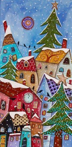 One O'Clock cats birds houses Karla Gerard Primitive Folk Art, Christmas Paintings, Christmas Art, Naive Art, Painting, Illustration Art, Art, Folk Art Cat, Folk Art Painting