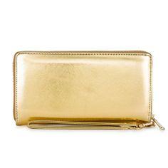 Martha Gold Faux Leather Clutch
