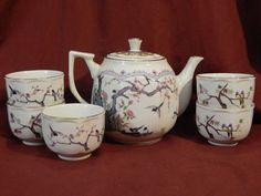Vintage Golden China Tea Set 5 cups C.Y.H.  Taiwan Birds Trees