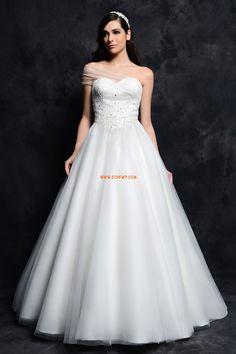 Félvállas Divatos és modern Gyöngydíszítés Menyasszonyi ruhák 2014