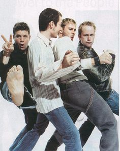 The 4 Hobbits: Sean Astin, Elijah Wood, Dominic Monaghan, and Billy Boyd. Silly!