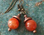 Fire Agate Copper Cap Earrings