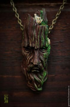 "Pendants handmade.  Fair Masters - handmade.  Buy Pendant ""Treebeard"".  Handmade.  Brown, polymer clay"