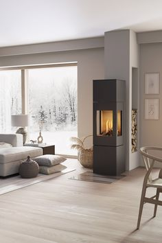 NEXO GAS is available in five different sizes as NEXO 160 and The stove can be c Living Room Interior, Living Room Decor, Living Room Accents, Living Room With Fireplace, Fireplace Design, Home And Living, Future House, Home Furniture, Family Room