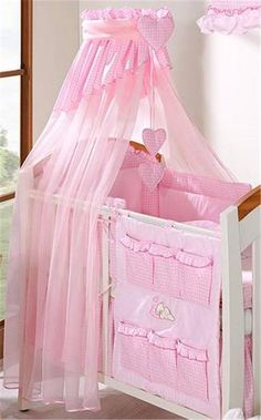 Luxury Baby Canopy Drape / Mosquito Net Only Large 320 cm for Cot Bed - cheque PINK Baby Comforter, Cot Bedding, Pink Bedding, Cot Canopy, Baby Canopy, Canopies, Baby Doll Diaper Bag, Vintage Winnie The Pooh, Baby Cribs