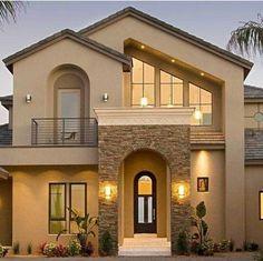 House Paint Exterior, Dream House Exterior, Exterior House Colors, Stucco And Stone Exterior, House Exterior Design, Stucco Colors, Exterior Houses, Interior Design, House Front Design