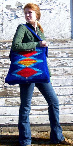 Santa Fe Satchel felted knitting pattern designed by Marta McCall of www.TinkkniT.com for Interweave Knits Fall 2007 by TinkkniT.com, via Fl...