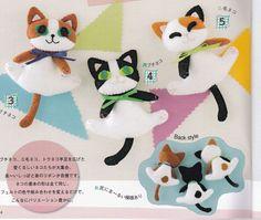Cute Felt Kittens Mascots Felt Sewing Crafts Kawaii Cat Plush Stuffed Toy Doll pdf E PATTERN in Japanese. $2.00, via Etsy.