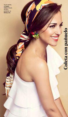 Scarf-wrapped hair (Paula Echevarria by Antonio Terrón for Yo Dona May 2015)