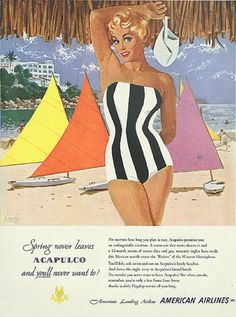 "Illustration by Al Parker (1906-1985), Dec. 1951, ""Spring never leaves Acapulco,"" American Airlines ad."