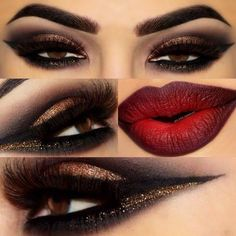 Eye make up for red bold lip. - - Eye make up for red bold lip. ~SkinDeep~ Gold and Black Glittery eye w/ Red and Black ombré Lip Pretty Makeup, Love Makeup, Makeup Inspo, Makeup Inspiration, Beauty Makeup, Makeup Ideas, Makeup Tutorials, Makeup Style, Fall Makeup