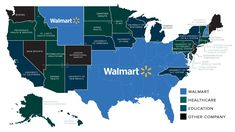 largest employer by state map - Walmart Nation Walmart is the largest private employer in 22 states 22 Top Private Employers In Each State Walmart Healthcare Education Other Company 11 5 Boeing Walmart Medical Mont Pitshurgh Cal Center Walmart Walmart Vid Providence Health, University University, Carolina University, State Government, Tecno, Supply Chain, Private Sector, American History, Geography