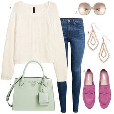 CREATE stylish outfit for spring, wardrobe basics, spring, women fashion for less, create cute outfits for spring, pink loafers, white sweater, spring sweater, prada bag