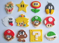 Super Mario Cookie and Cupcake Fondant Toppers Bolo Do Mario, Bolo Super Mario, Super Mario Birthday, Mario Birthday Party, Super Mario Party, Birthday Cake, Fondant Cupcake Toppers, Deco Cupcake, Fondant Icing