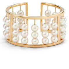 Assael Akoya Pearl Abacus Bangle Bracelet ($17,000) ❤ liked on Polyvore featuring jewelry, bracelets, bangle jewelry, hinged bracelet, pearl bangle bracelet, hinged bangle and assael jewelry
