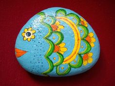 PAINTED STONE...flowery fish!
