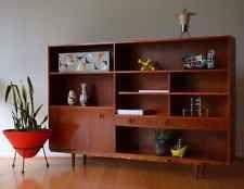 retro mid century danish modern teak shelf bookshelf / wall unit